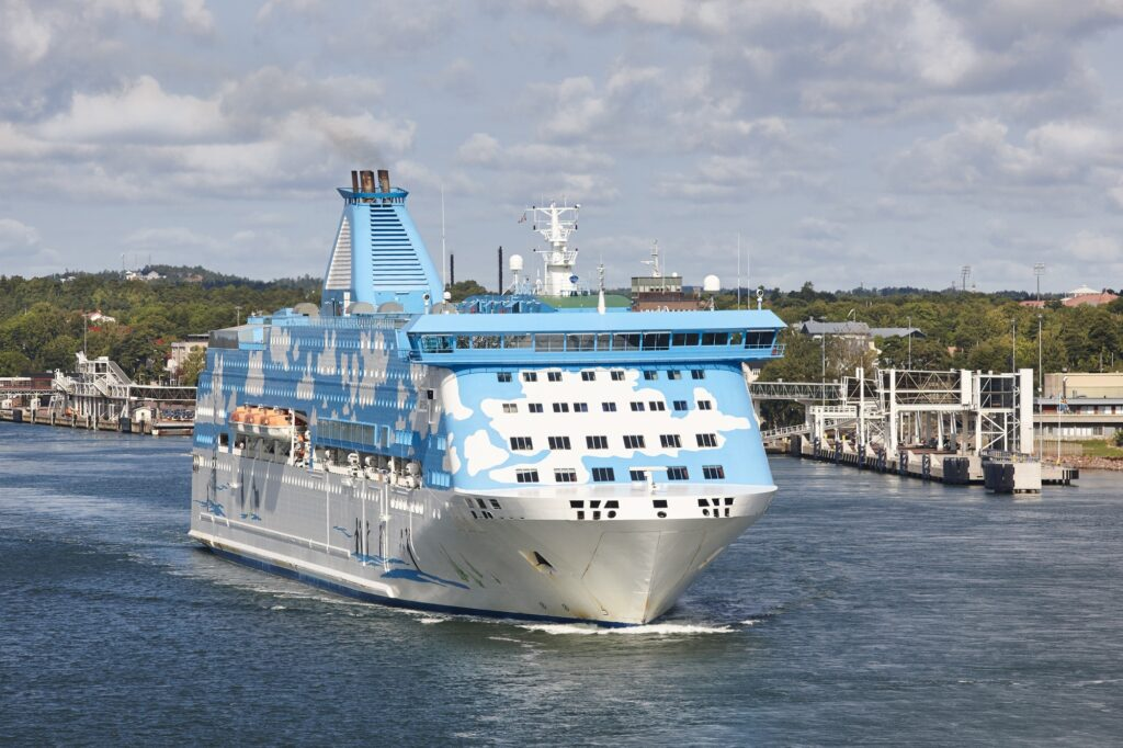 Cruise vessel on the baltic sea. Aland island harbor. Travel