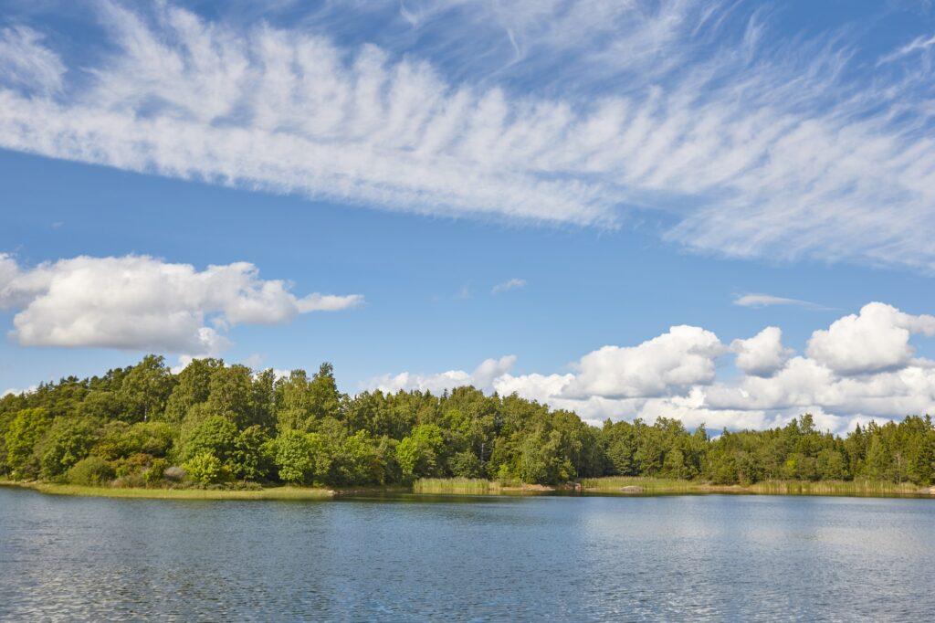 Finland landscape. Lake and forest. Aland islands. Nature background