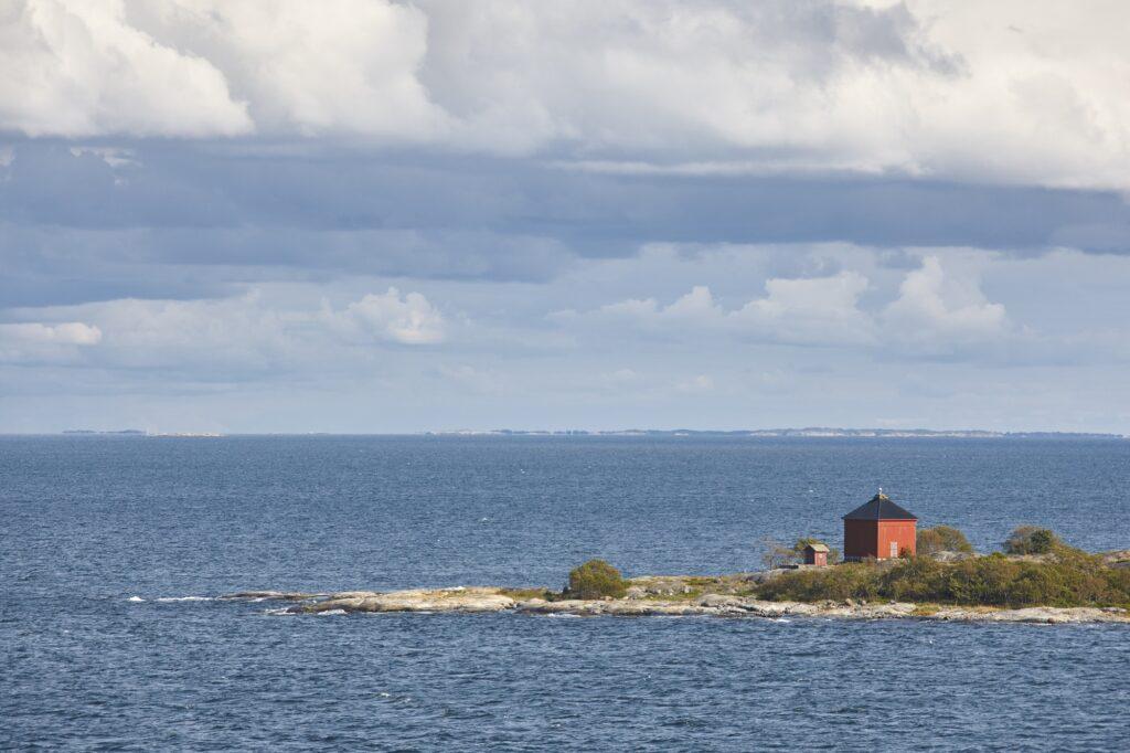 Finnish coastline landscape with islands. Baltic sea. Aland archipelago. Finland
